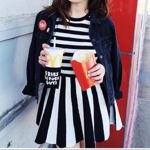 Knit stripe dress with scallop hem